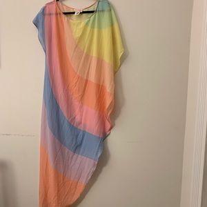 Mara Hoffman Swim Rainbow Sheer High-Low cover up